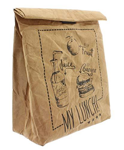 Pausenbrot-Tasche, Braune Lunchbag isoliert kalt oder warm, Kühltasche mit Klettverschluss, thermische Tasche (My Lunch)