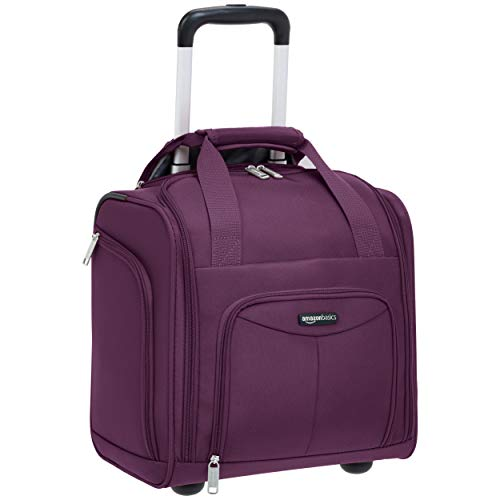 AmazonBasics Underseat Carry-On Rolling Travel Luggage Bag, 14 Inches, Purple