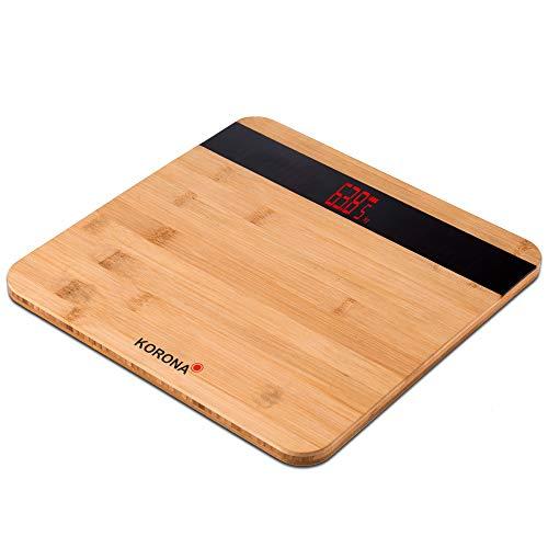 Korona 74560 - Báscula electrónica de bambú (capacidad de carga de 180 kg, división de 100 g, aspecto de madera)