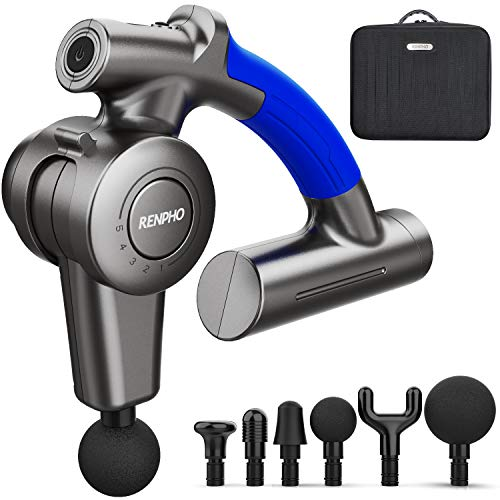 Massage Gun with Adjustable Arm, RENPHO R4 Percussion Back Massager Gun Handheld Deep Tissue, Muscle Massage Gun for Bike Athletes Sore Muscle and Stiffness Pain Recovery