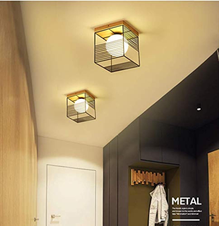BOSSLV Rechteckige Deckenleuchte Deckenleuchte Holz Metall Glas Lampe Schatten Flur Korridor Balkon Studie Gang Deckenbeleuchtung Dekoration Beleuchtung E27 1 Birne Schwarz