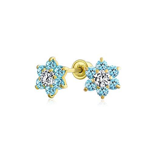 Winzige Licht Blau Aqua Cz Blume Ohrstecker Für Frauen Für Teen Zirkonia Simuliert Topas 14K Real Gold Schraube Zurück