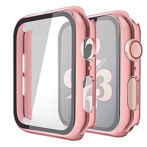 Misxi 2 Pack Hard PC Case with Tempered Glass Screen Protector Compatible with Apple Watch Series 6 SE Series 5 Series 4 40mm, 1 Rose Pink + 1 Transparent