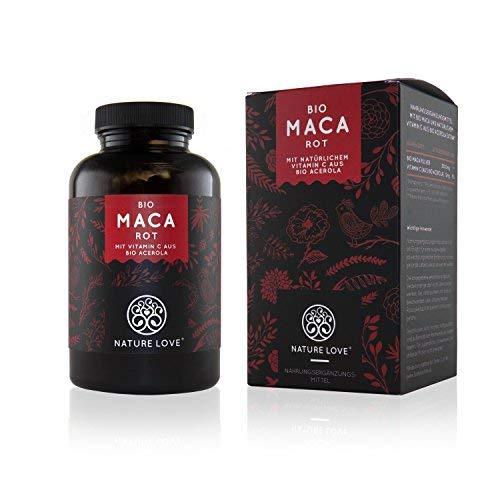 NATURE LOVE Bio Maca - 180 Kapseln - 3000 mg Bio Maca rot pro Tagesdosis - Mit natürlichem Vitamin...