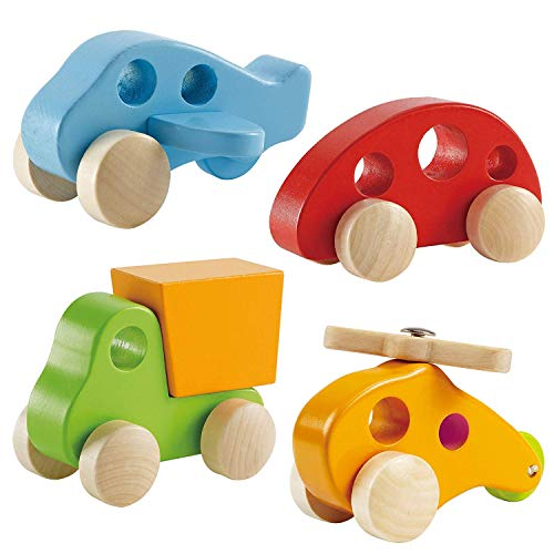 Hape Wooden Toy Cars Set for Toddlers - 4 Wooden Vehicles w/ Wood Truck, Car,...