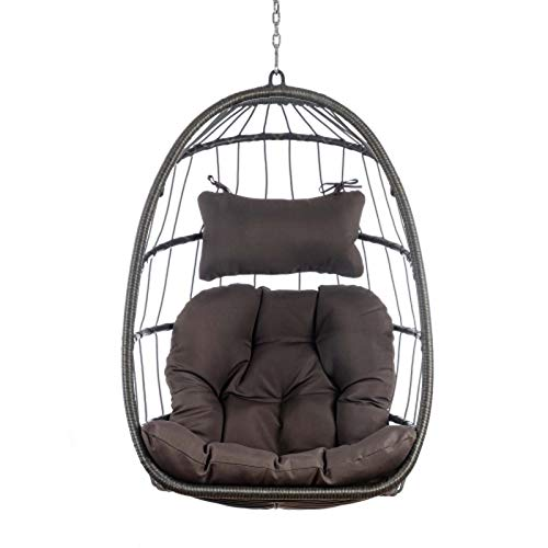 Mytunes Wicker Swing Chair,Rattan Hammock Chair Hanging Chair with Aluminum Frame and Cushion Without Stand 265LBS Capacity (Dark Gray)