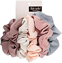 Kitsch Matte Scrunchies for Hair, Hair Scrunchies for Women, Soft Scrunchy Hair Bands, 5 Pack (Blush/Mauve)