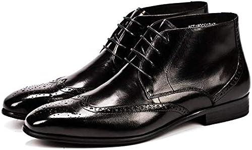 LOVDRAM Chaussures en Cuir pour Hommes Cuir Véritable Hommes Brillant Haut Haut Robe Robe Chaussures à Lacets Bout Rond Noir Marron Bottines Bottes Chaussures pour Monsieur