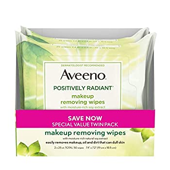 Aveeno Positively Radiant Oil-Free Makeup Removing Face Wipes to Help Even Skin Tone and Texture with Moisture-Rich Soy Extract Gentle Facial Cleansing Wipes Twin Pack 2 x 25 ct.