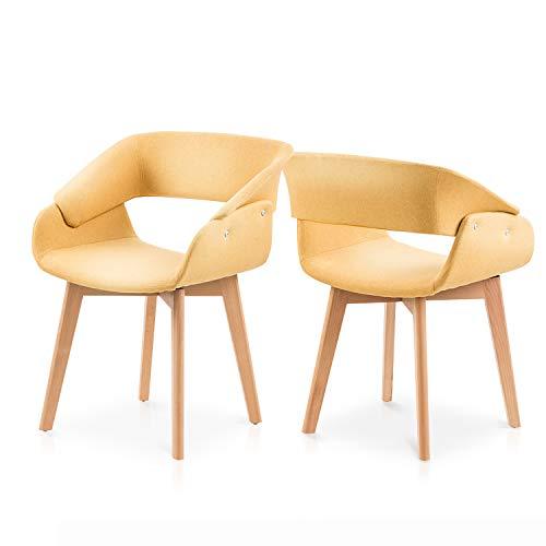 Juego de 2 sillas de comedor de cocina, sillas de comedor con reposabrazos, tapizadas de terciopelo, sillas de lavandería, sillas de cocina, sillas de interior, color amarillo