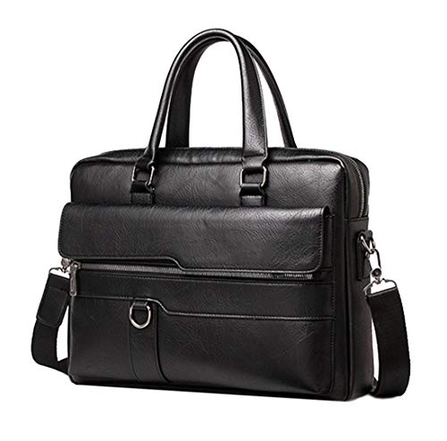 Men's Leather Briefcase Business Laptop Bag Waterproof Travel Satchel Bag Messenger Bag for Men (Black)