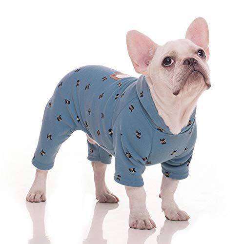 Stock Show Pet Clothes Dog Four Legs Clothes Bulldog Teddy Autumn Winter Soft Warm Velvet Pajamas Jumpsuits Cute Owl Printed Shirts Doggie Apparel Costume for Small Medium Dog Puppy, Blue (3X-Large)