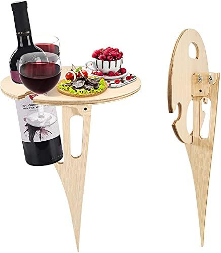 QKFON Tragbarer Weintisch für den Außenbereich, Picknick-Tisch mit faltbarem, rundem Schreibtisch, Mini-Holz-Picknicktisch, einfach zu tragen, Picknick, Weinglashalter
