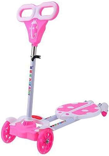 XUEYING-KickScooter Amortisseur réglable d'amortisseur de Voiture de vitalité d'oscillation de Roue instantanée de Scooter à Roues à Quatre Roues élargi Poussette de pédale (Couleur   rose)