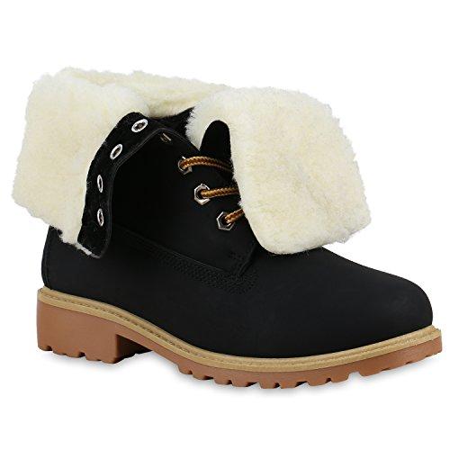 Warm Gefütterte Damen Schuhe Boots Outdoor Stiefel Stiefeletten 125734 Schwarz Carlet 40 Flandell