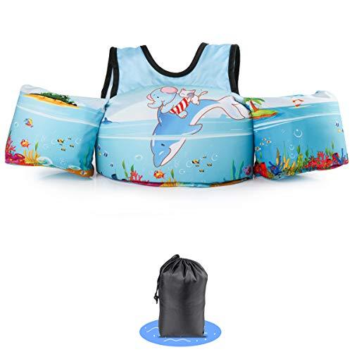 kacai Schwimmflügel mit Sicherheitsgurt Schwimmhilfe, für Kinder von 2-6 Jahre 10-30kg Schwimmanfänger hautfreundliche kein Aufblasen erforderliche Schwimmweste (Elefant Delphin)