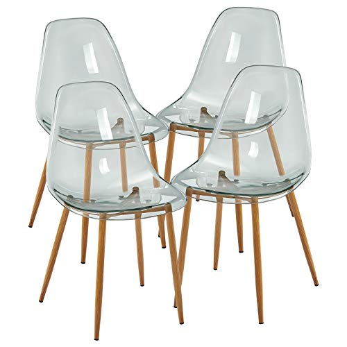GreenForest Acrylic Ghost Chairs Set of 4, Dining Kitchen Room Chairs with Crystal Seat, Modern Shell Lounge Chairs, Greyish Green