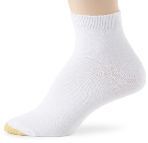 Gold Toe Women's 6 Pack Plus Size Flat Knit Quarter,White,8-13
