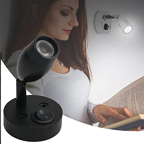 HAITOY 12V Luz de Lectura, LED Lámpara de Libro con Interruptor Lámpara de Lectura de Montaje para Barco, Yate, Caravana, Autocaravana, Autocaravanas, RV,Blanco