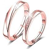 RLYKAL(ルリカル) ペアリング 指輪 カップル リング 結婚指輪 婚約指輪 オープンリング エンゲージリング フリーサイズ レディース メンズ (ピンクシルバー, フリーサイズ)