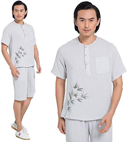 Traje de Tai Chi para Hombre, Pantalones Cortos de Manga Corta, Uniforme de Tai Chi Suelto y Transpirable, Traje de Lino de Kung Fu, Traje de Artes Marciales, Traje de Meditación, Ropa,Grey-M