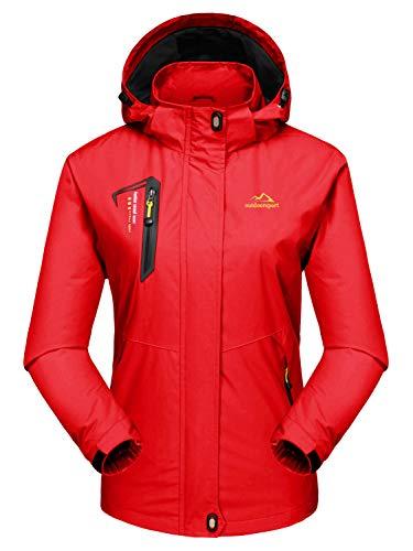 MAGCOMSEN Damen Outdoorjacke Skijacke Wasserdicht Windstopper Jacke für Damen Atmungsaktiv Wanderjacke Funktionsjacke mit Abnehmbarer Kapuze Rot XL