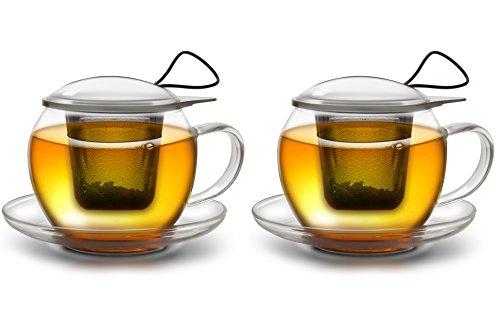 Creano Jumbo Tee-Tasse XXL mit Henkel und integriertem Edelstahlsieb, Glas-Deckel und Untertasse | 450ml
