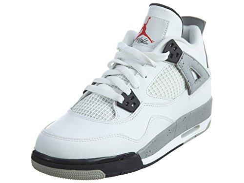 Nike Jungen Air Jordan 4 Retro OG BG Fitnessschuhe, Weiß Rot Schwarz Weiß Feuerrot Schwarz Tech Grau, 38.5 EU