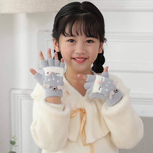 YXHUI Preciosa 4-9 años Los niños Calientes del Invierno de Dibujos Animados Fox Tejer Mitones de Lana niñas Boy/Piel Suave de Punto de niños de los Medios Guantes de Flip I40