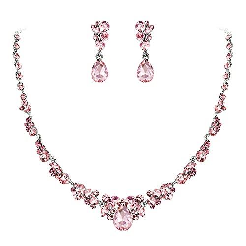 EVER FAITH Juego de joyas para mujer de cristal austríaco, collar y pendientes con diseño de gota, color rosa y plateado