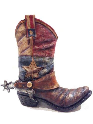 Texas Lone Star Cowboy Boot With Spur Jarrón macetas para Western Decor