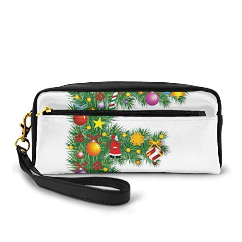 Pencil Case Pen Bag Pouch Stationary,Christmas Bells Santa with Gifts Colorful Candies on Pine Design Capital F Print,Small Makeup Bag Coin Purse