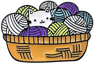 GloryMM Cartoon Cat Brooch Yarn Ball Shape Enamel Jacket Lapel Pin Animal ackpack Shirt Hat product image
