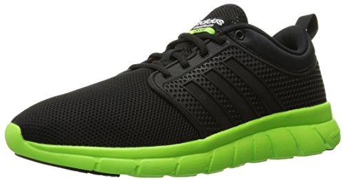 adidas NEO Men's Cloudfoam Groove Shoes,Black/Black/Green,9 M US