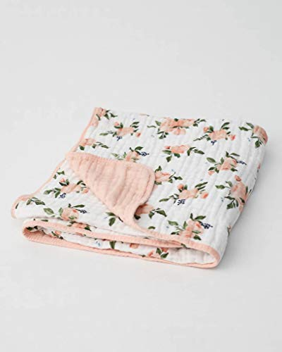 Little Unicorn | Cotton Muslin Quilt - Baumwoll-Musselin Steppdecke (Watercolour Roses)