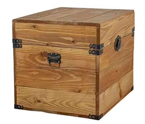 1x Tolle Truhe mit Deckel, aus Holz, mit Metallbeschlägen an den Ecken & Aufdruck, zur Aufbewahrung von Kleinkram, neu, 45x35x35cm - 4