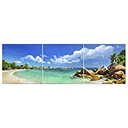 Canvas Wall Art Decor - 3 Piece Set - Large Decorative & Modern Multi Panel Split Prints for Dining & Living Room, Kitchen, Bedroom & Office (5102 - Ocean Beach, 24x24 3 Piece)