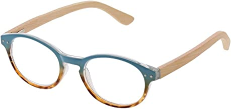 Peepers Women's Galleria - Blue/Wood 2432275 Round Reading Glasses, Blue&Wood, 2.75