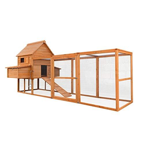 Pollaio in legno marone rossiccio 310x150x150cm cassette di nidificazione recinto vassoio estraibile