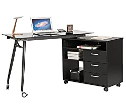 ProHT black glass desk