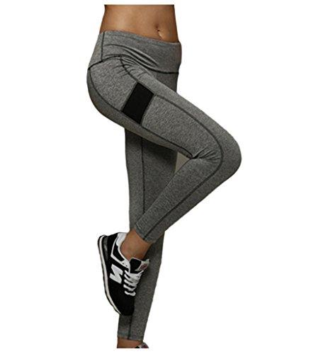 Lotus Instyle Frauen Sport Hosen Yoga Lauf Trainings ?bungs Gamaschen Strumpfhosen Gray-M