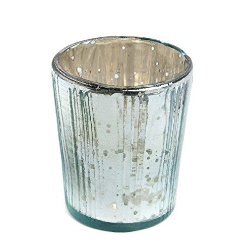 Insideretail-Porta lumini con Supporto Verticale, Effetto Vintage, in Vetro, Colore: Blu, 7 cm, Confezione da 48