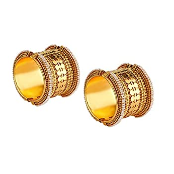 Efulgenz Fashion Jewelry Indian Bollywood Antique Faux Pearl Coin Style Combo Bracelet Bangle  2 Pc