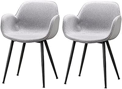 Groove 2X Cosmo Arm Chair Dining Chair Fabric Upholstered Seat Steel Legs Seat - Grey