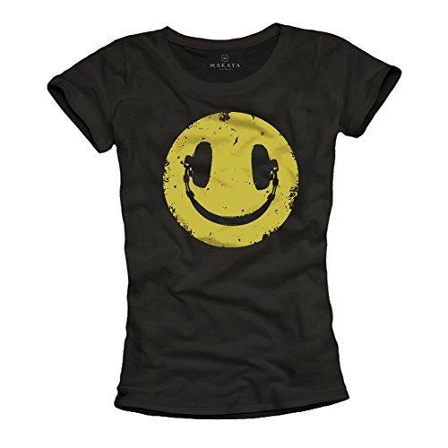 MAKAYA Camiseta Musica House para Mujer - Negra M
