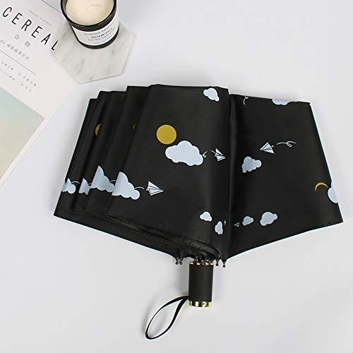 Maria-UK Nueve paraguas plegable de vinilo plegable de triple laminado con protección solar UV (color: 5)