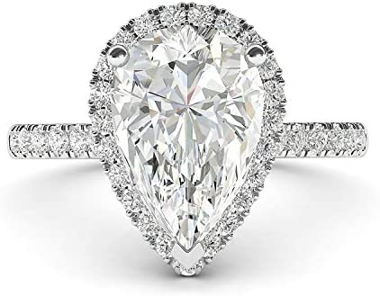 10k White Gold Simulated Pear Shaped Diamond Halo Engagement Ring with Side Stones Promise Bridal product image