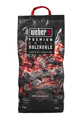 Weber Premium Holzkohle 5 kg carbonella, Nero