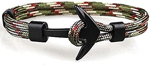 banbeitaotao Collar, Pulseras de Ancla de Color Negro, Pulsera de Cadena de Cuerda de Supervivencia para Hombres, Ganchos Deportivos de Metal para Envolver Masculinos