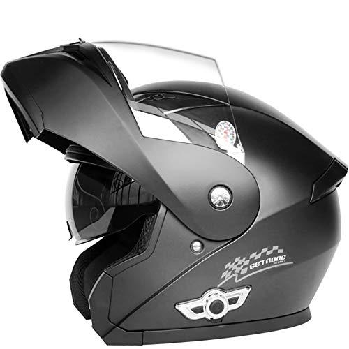 ZLYJ Bluetooth Abierto Cascos Motocross, Casco Integral Motocicleta, Casco Cara Completa Moto con Doble Visera, Casco Moto Modular Street Bike Racing, Homologado ECE A,M(57-58cm)